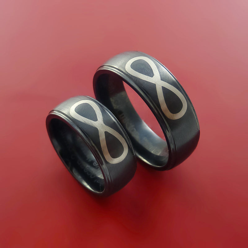 Black Zirconium Matching Ring Set Infinity Symbol 14k White Gold Inlay Bands Custom Made