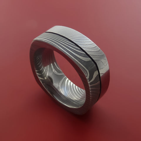 Damascus Steel Square Band Flat Twist Pattern Ring