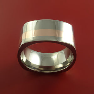 Wide Titanium Ring with 14k Rose Gold Inlay Custom Made Band