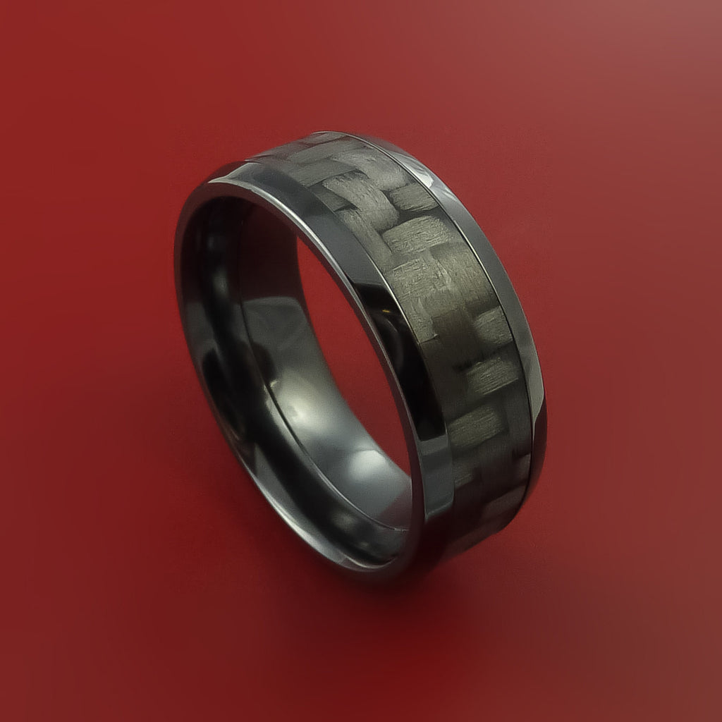 Carbon Fiber Diamontrigue Jewelry: Black Zirconium Ring With Carbon Fiber Inlay Style Weave