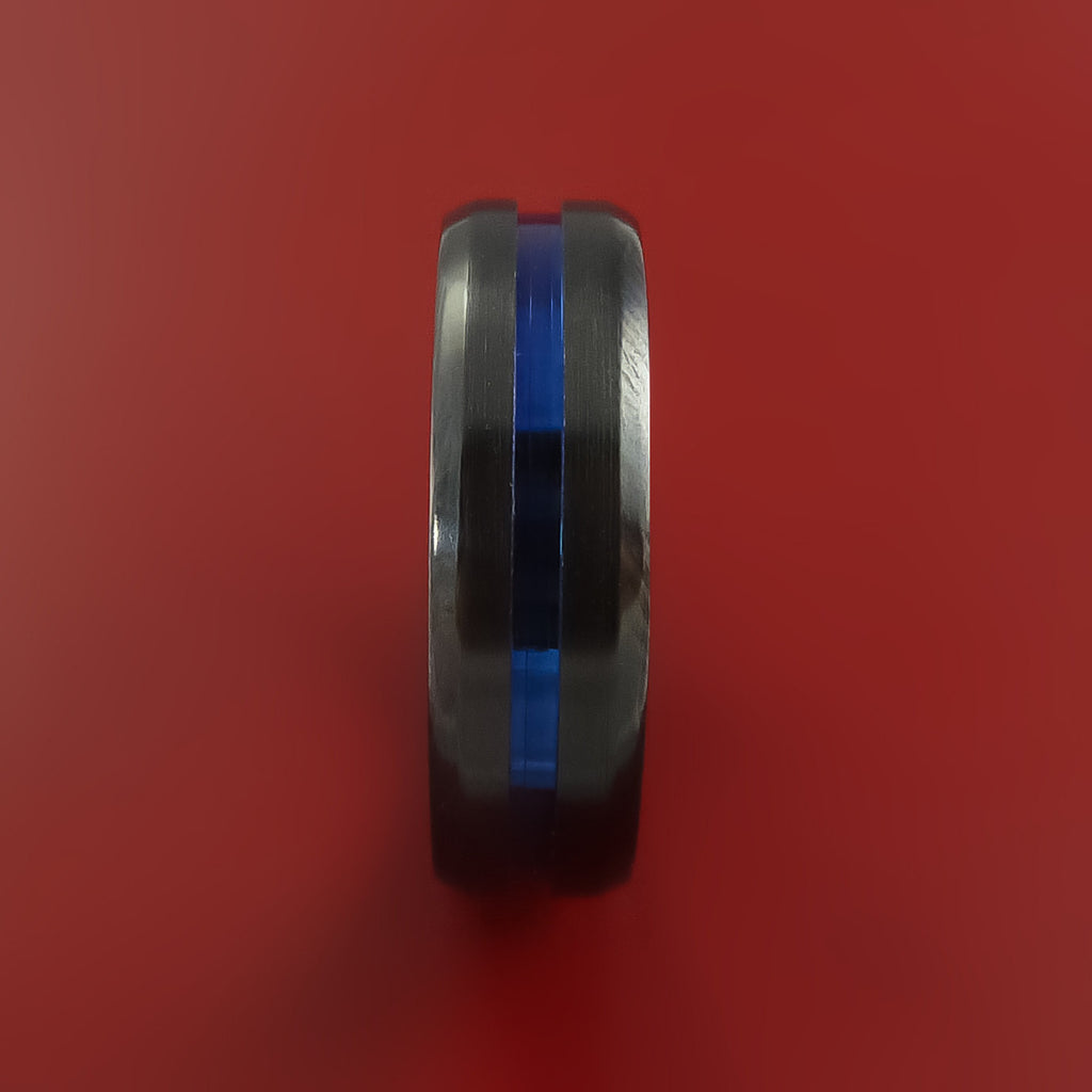 Black Zirconium Ring Traditional Style Band with Blue Center Inaly Made to Any Sizing and Finish by Stonebrook Jewelry