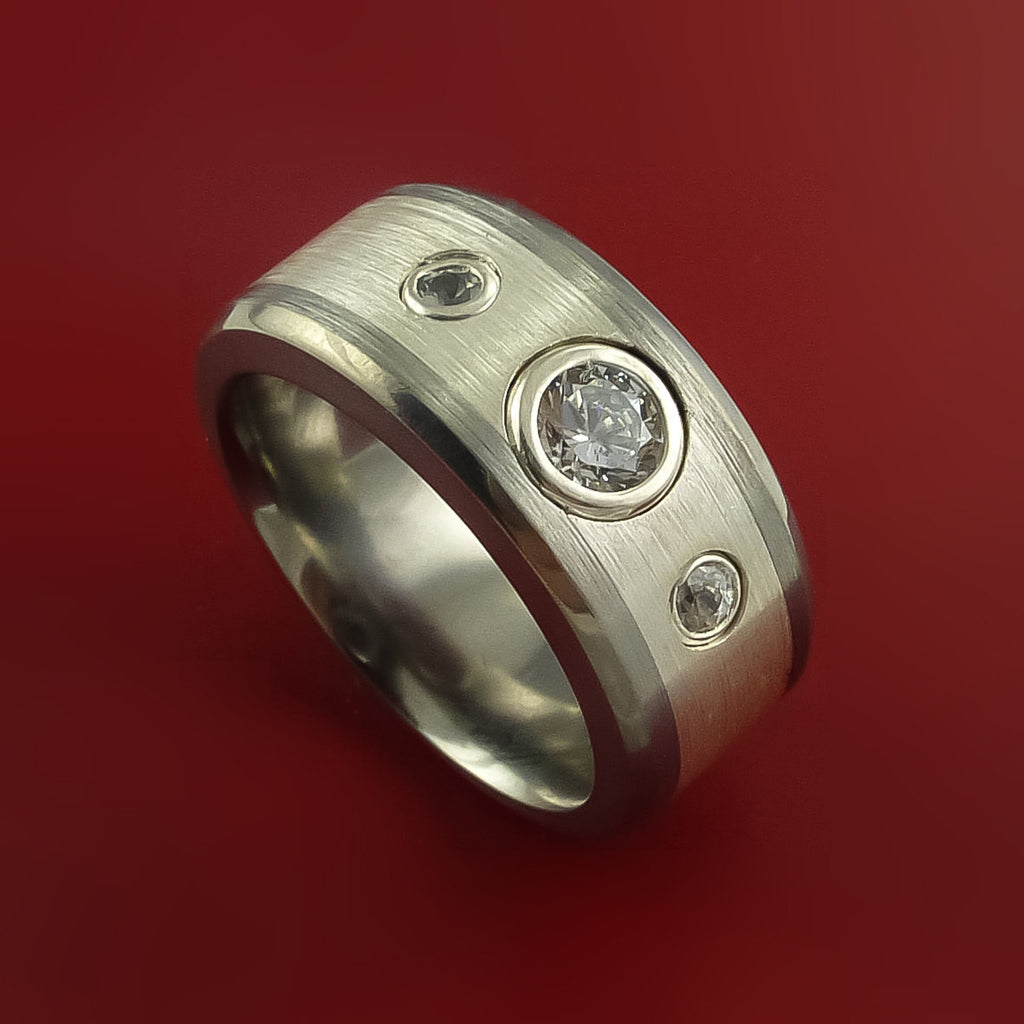 Titanium and Silver Inlay Ring with Raised Beveled Moissanite Stones Moderns Style Band Custom Made by Stonebrook Jewelry