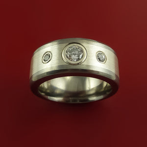 Titanium and Silver Inlay Ring with Raised Beveled Moissanite Stones Moderns Style Band Custom Made