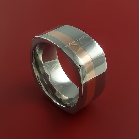 14k Rose Gold and Titanium Ring Square Band Modern Style