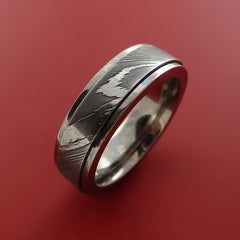 Damascus Steel and Titanium Spinner Ring Custom Made Band by Stonebrook Jewelry