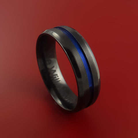 Black Zirconium Ring Traditional Style Band with Blue Center Inaly Made to Any Sizing and Finish