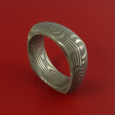 Damascus Steel Square Band Pattern Ring Genuine Craftsmanship