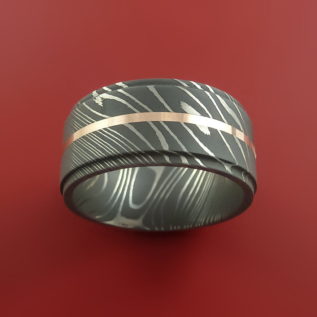 Damascus Steel 14K Rose Gold Wide Ring Wedding Band Custom Made Genuine Craftsmanship by Stonebrook Jewelry