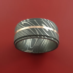 Damascus Steel 14K Rose Gold Wide Ring Wedding Band Custom Made Genuine Craftsmanship
