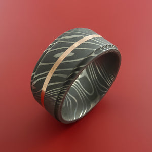 Wide Damascus Steel Ring with 14k Rose Gold Inlay Custom Made Band