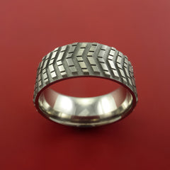 Titanium Carved Tread Design Ring Bold Unique Band Custom Made to Any Sizing 4-22 - Stonebrook Jewelry  - 3