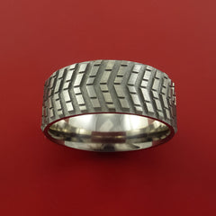 Titanium Carved Tread Design Ring Bold Unique Band Custom Made to Any Sizing 4-22 - Stonebrook Jewelry  - 4