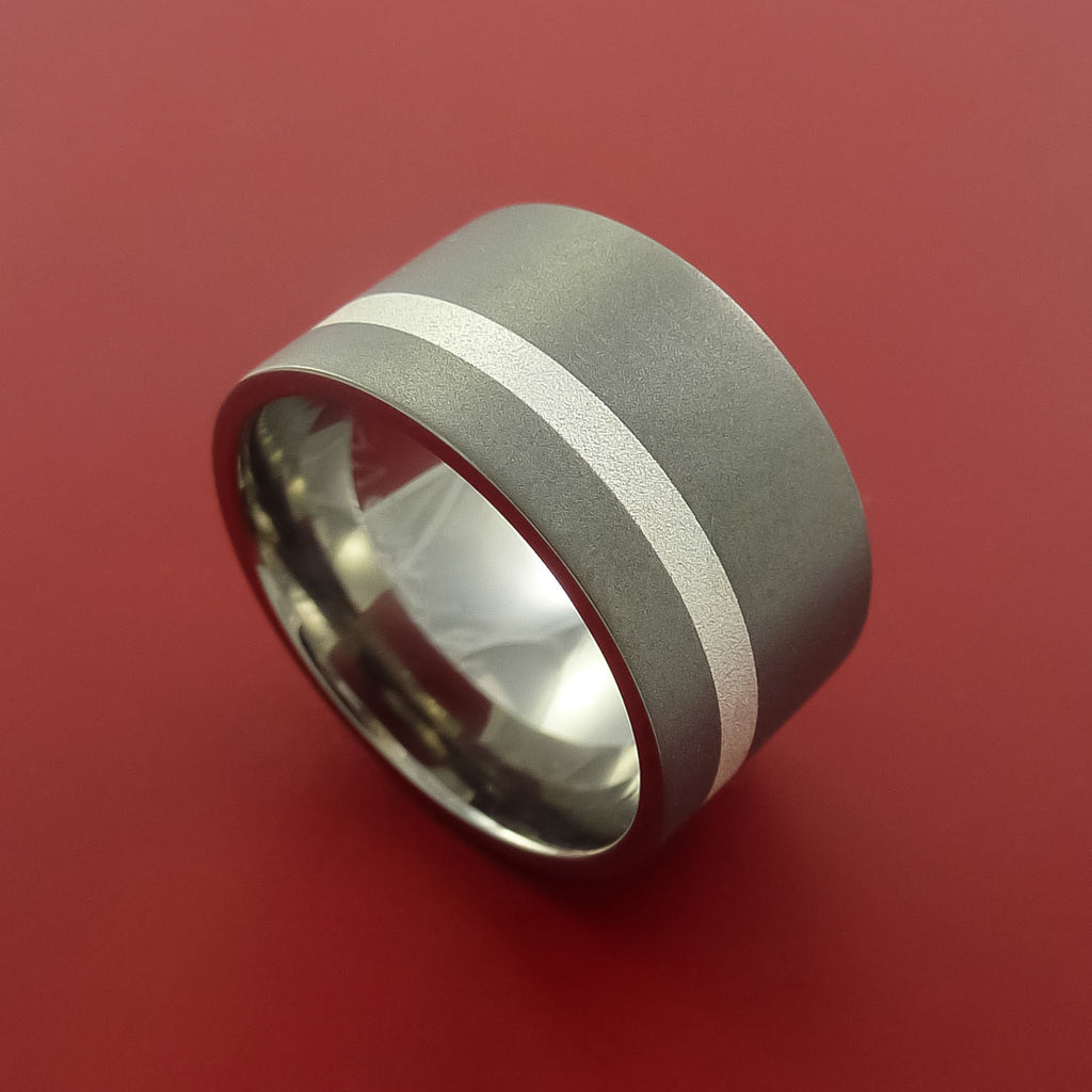 Wide Titanium Ring Classic Style with Silver Inlay Wedding Band Any Size and Finish 3-22 by Stonebrook Jewelry