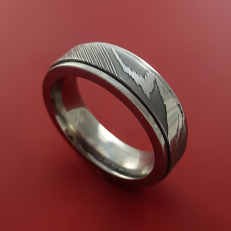 Titanium Spinner Ring with Damascus Steel Inlay Custom Made Band