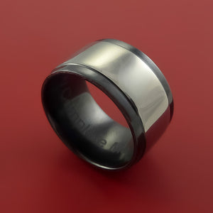 Wide Black Zirconium Two Tone Ring Traditional Style Band Made to Any Sizing and Finish