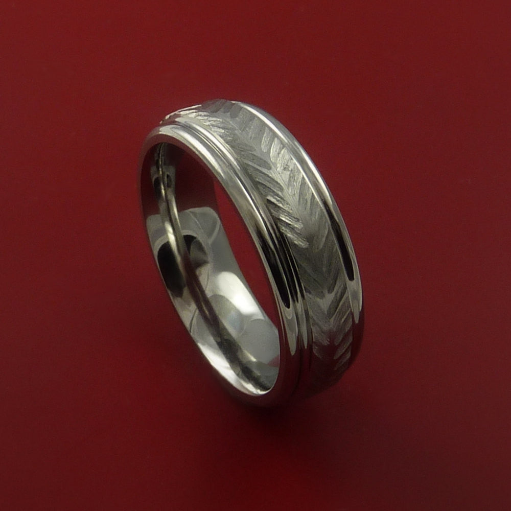 Titanium Feather Carved Band Custom Rings Made to Any Sizing and Finish 3-22 - Stonebrook Jewelry  - 1