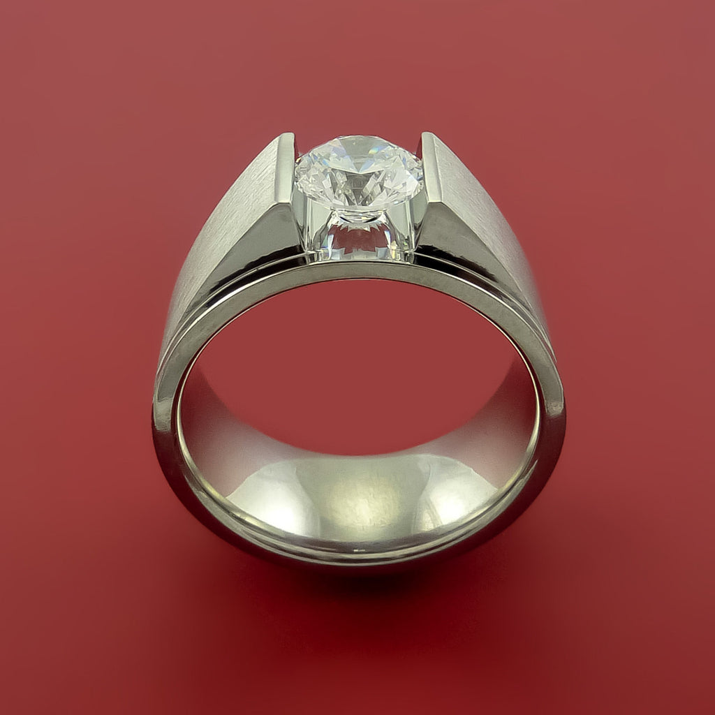 Titanium Ring Tension Setting Band Made to any size with Moissanite