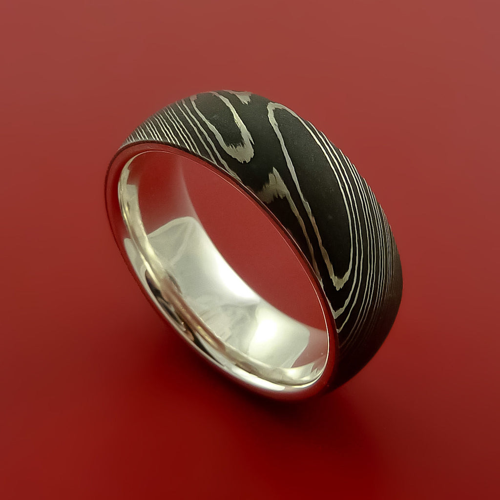 Damascus Steel Ring With Solid Sterling Silver Sleeve