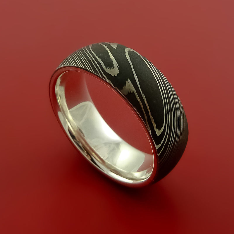 Damascus Steel Ring with Interior Sterling Silver Sleeve Custom Made Band