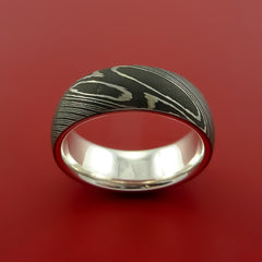 Damascus Steel Ring with Solid Sterling Silver Sleeve Wedding Band Custom Made - Stonebrook Jewelry  - 2