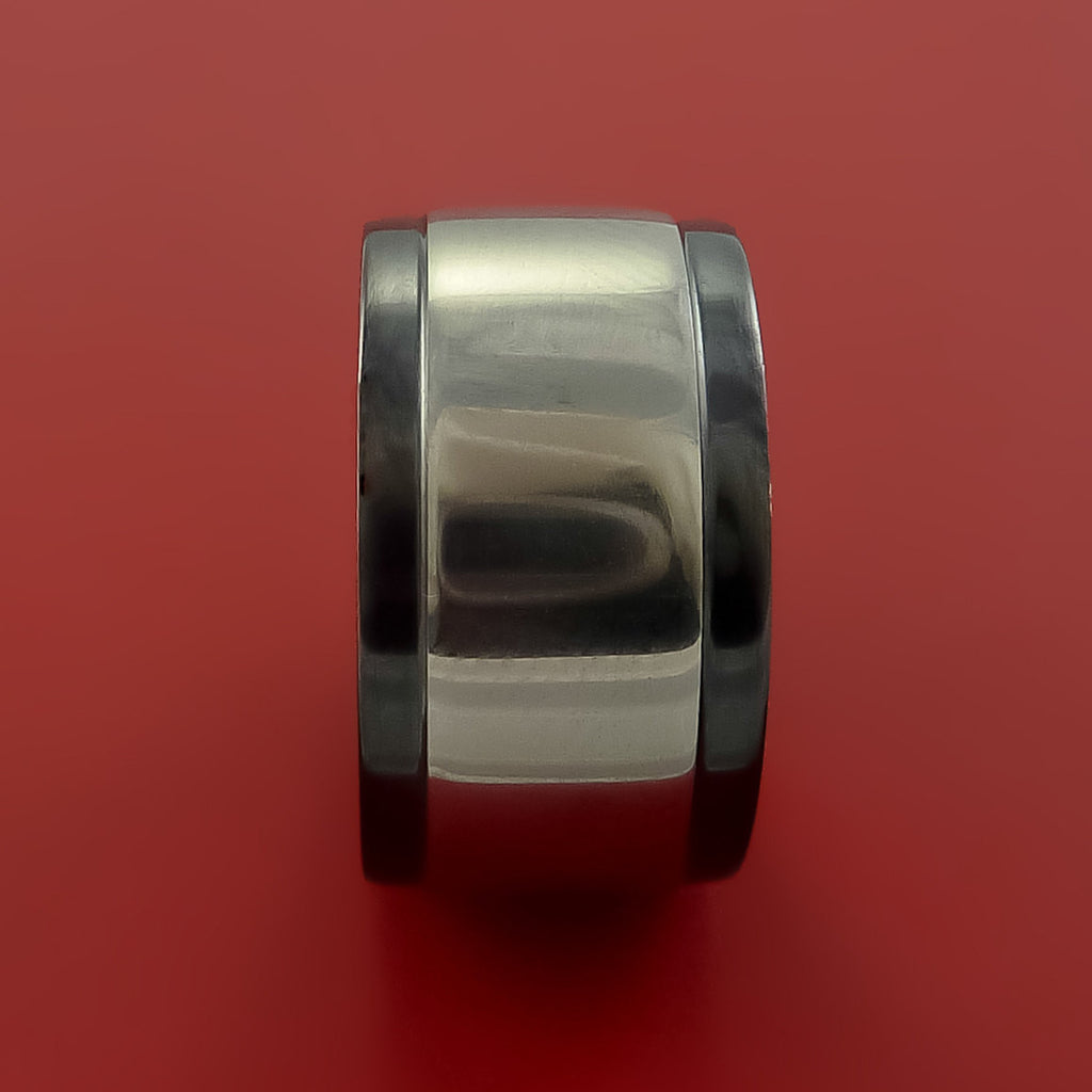 Wide Black Zirconium Two Tone Ring Traditional Style Band Made to Any Sizing and Finish by Stonebrook Jewelry