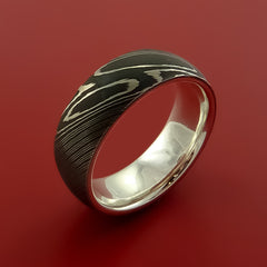 Damascus Steel Ring with Solid Sterling Silver Sleeve Wedding Band Custom Made - Stonebrook Jewelry  - 4
