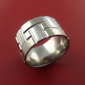 Cobalt Chrome Brick Design Ring Extra Wide Unique Band Custom Made
