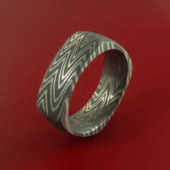 Damascus Steel Square Band Pattern Ring Genuine Craftsmanship by Stonebrook Jewelry