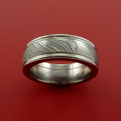Surgical Steel Stainless and Damascus Steel Band Custom Made Ring by Stonebrook Jewelry