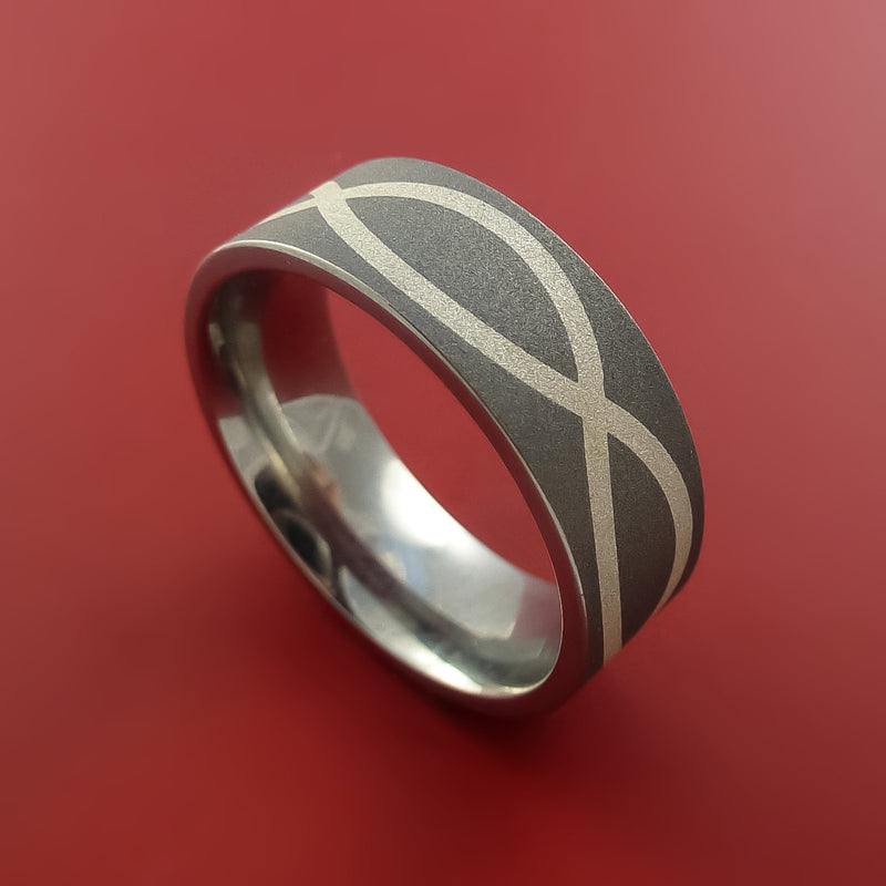 Sterling Silver Infinity Symbol And Titanium Ring Wedding Band