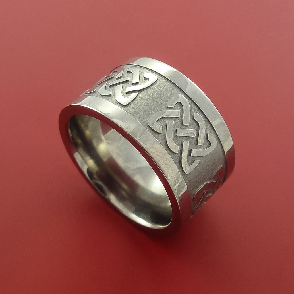Titanium Wide Celtic Band Infinity Symbolic Wedding Ring Custom Made to Any Size by Stonebrook Jewelry