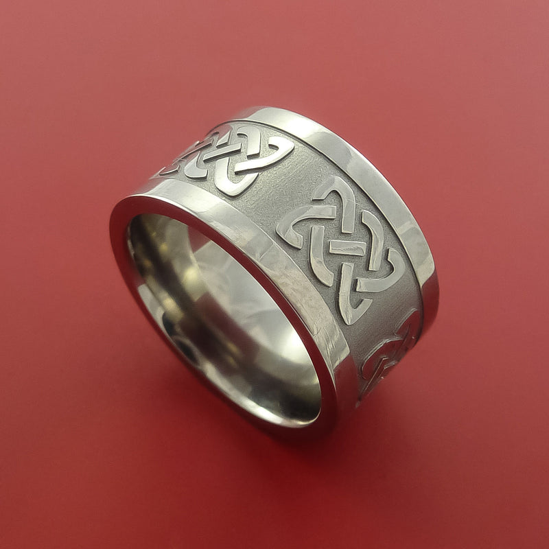 Titanium Ring with Infinity Knot Milled Celtic Design Inlay Custom Made Band