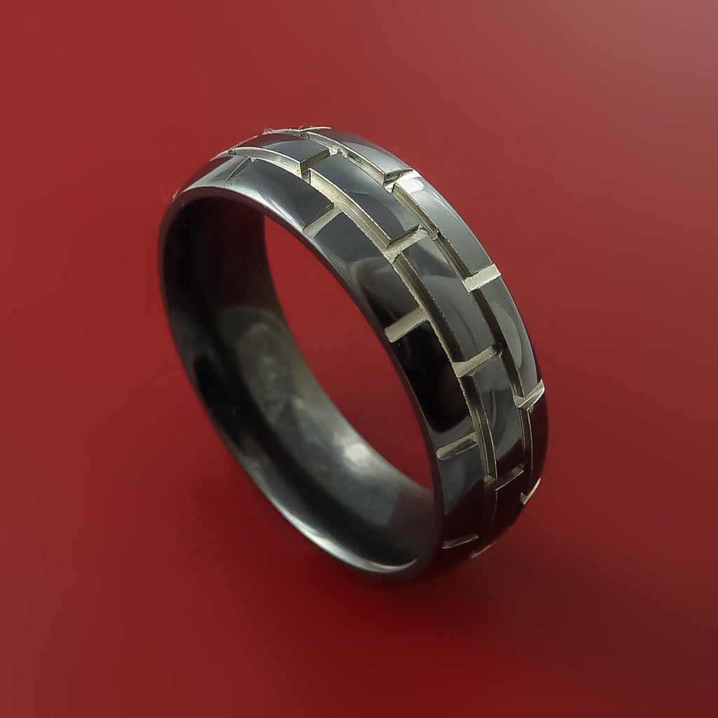 Black Zirconium Unique Brick Ring Comfortable Band Made to Any Sizing and Finish 3-22 by Stonebrook Jewelry