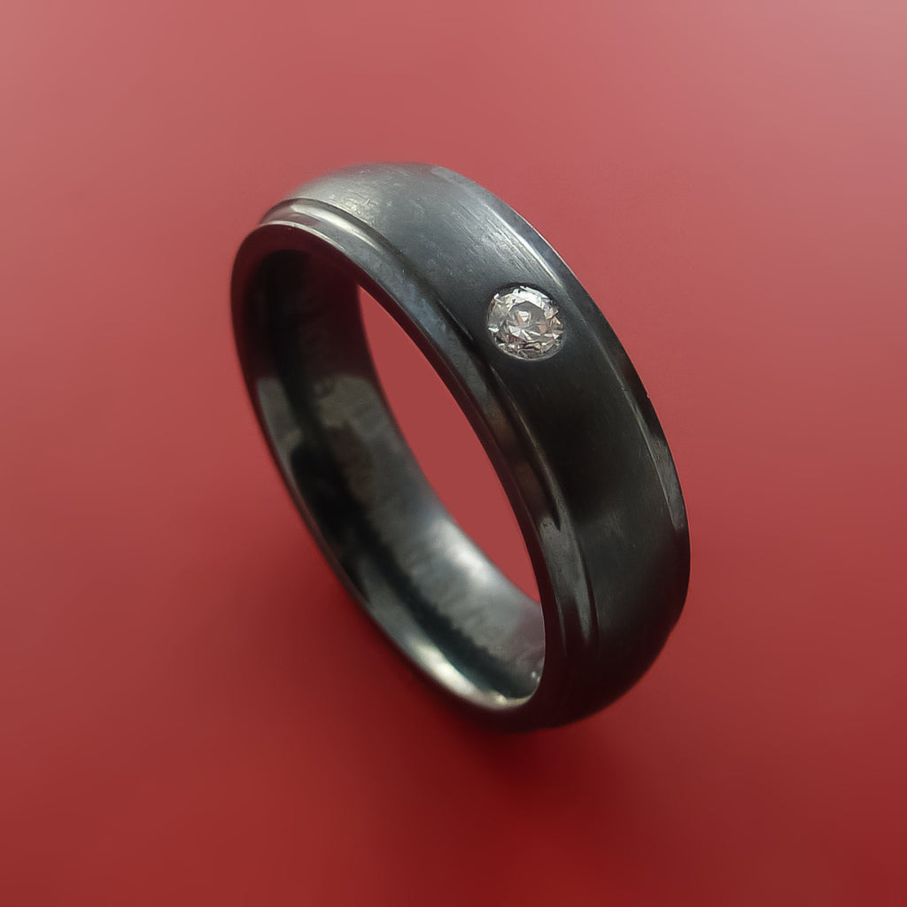 Black Zirconium Silver Inlay Ring with Raised Beveled Moissanite Stones Moderns Style Band Custom Made by Stonebrook Jewelry