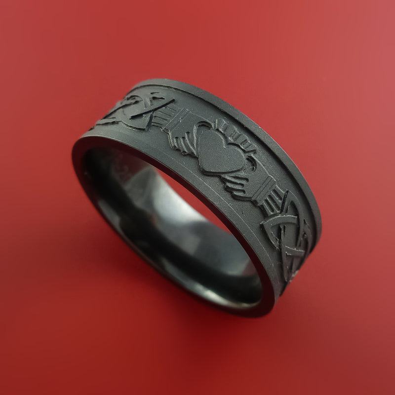 Black Zirconium Celtic Irish Claddagh Ring Hands Clasping Heart Band Carved