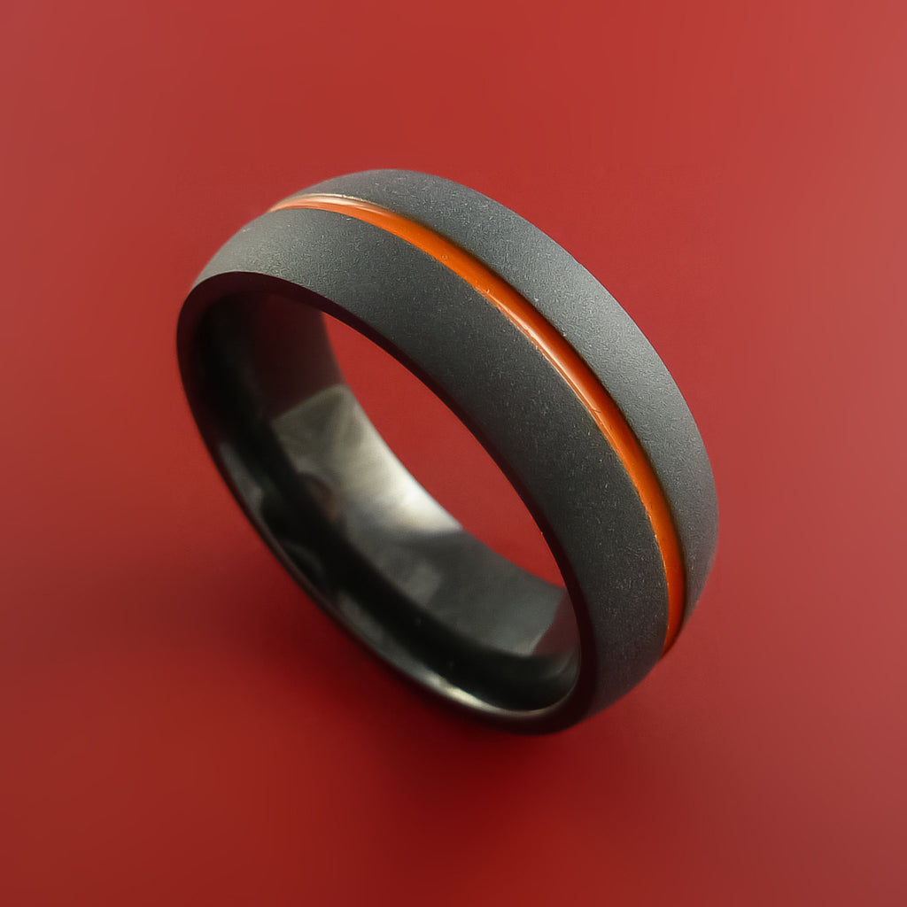 Black Zirconium Ring Traditional Style Band with Orange Center Inlay Made to Any Sizing and Finish