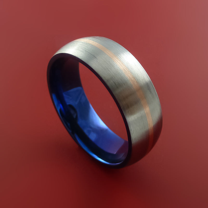 Titanium Ring with 14k Rose Gold Inlay and Interior Anodized Sleeve Custom Made Band