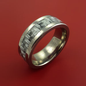 Titanium Ring with Silver Carbon Fiber Inlay Custom Made Band
