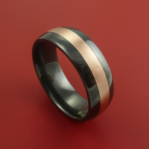 Black Zirconium and 14K Rose Gold Ring Custom made Band and Sizing from 3-22