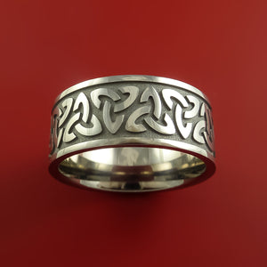 Titanium Ring with Trinity Milled Celtic Design Inlay Custom Made Band