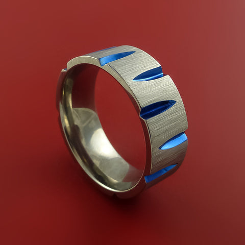 Titanium Wedge Cut Wedding Band with Blue Anodizing Ring Made to Any Sizing and Finish 3-22