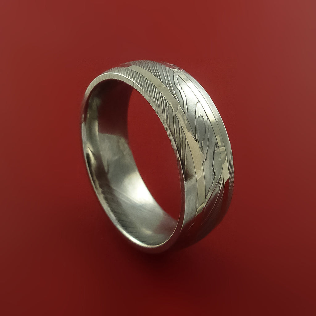 Damascus Steel 14K White Gold Ring Hand Crafted Wedding Band by Stonebrook Jewelry