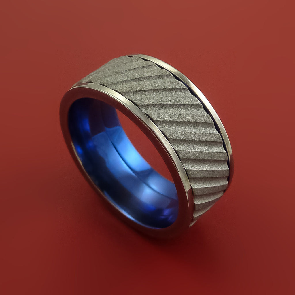 Blue Titanium Inlay Spinner Unique Titanium Band Custom Made to order Any Size by Stonebrook Jewelry