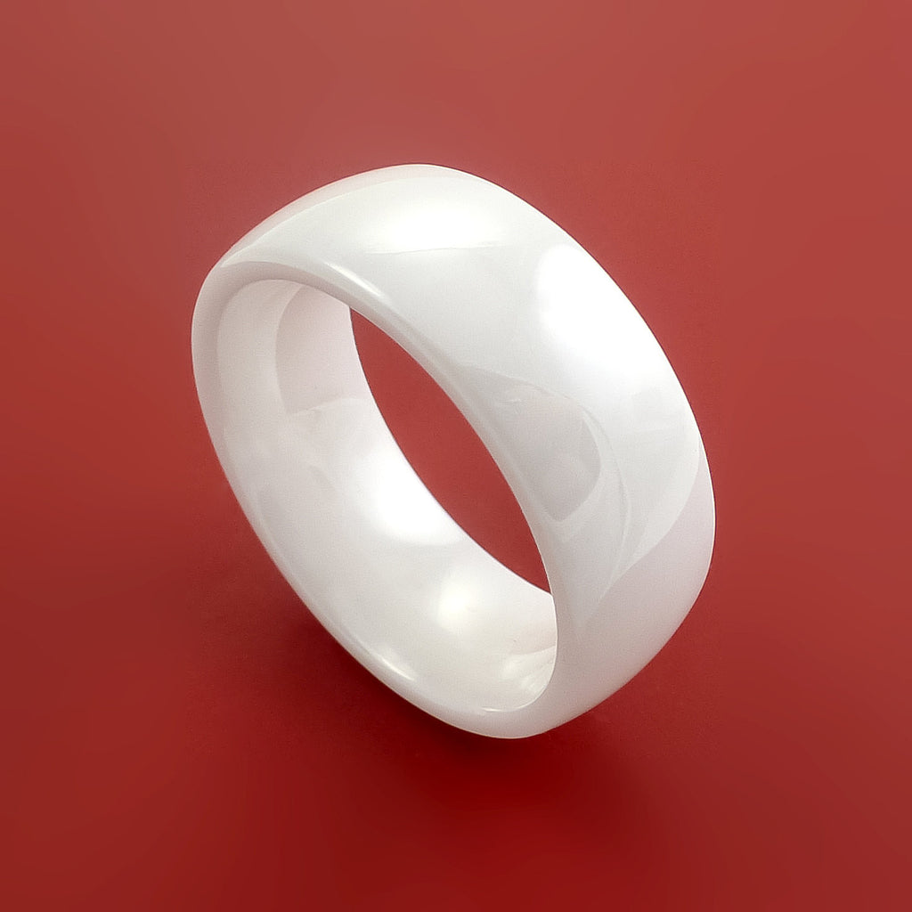 White Ceramic Ring Durable Custom Made Ring by Stonebrook Jewelry