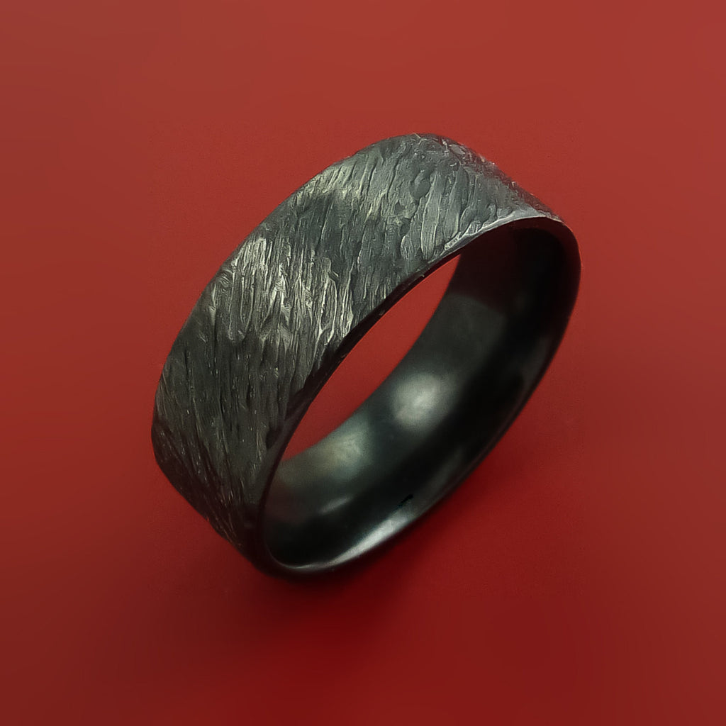 Black Zirconium Ring Traditional Style Band Made to Any Sizing and Finish by Stonebrook Jewelry