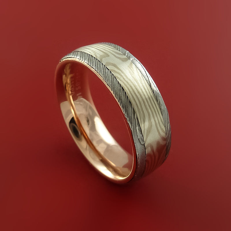 Damascus Steel Ring with Palladium and Sterling Silver Mokume Gane Inlay and Interior 14k Rose Gold Sleeve Custom Made Band