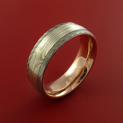 Damascus Steel and Mokume Ring with Rose Gold Sleeve Wedding Band Custom Made by Stonebrook Jewelry