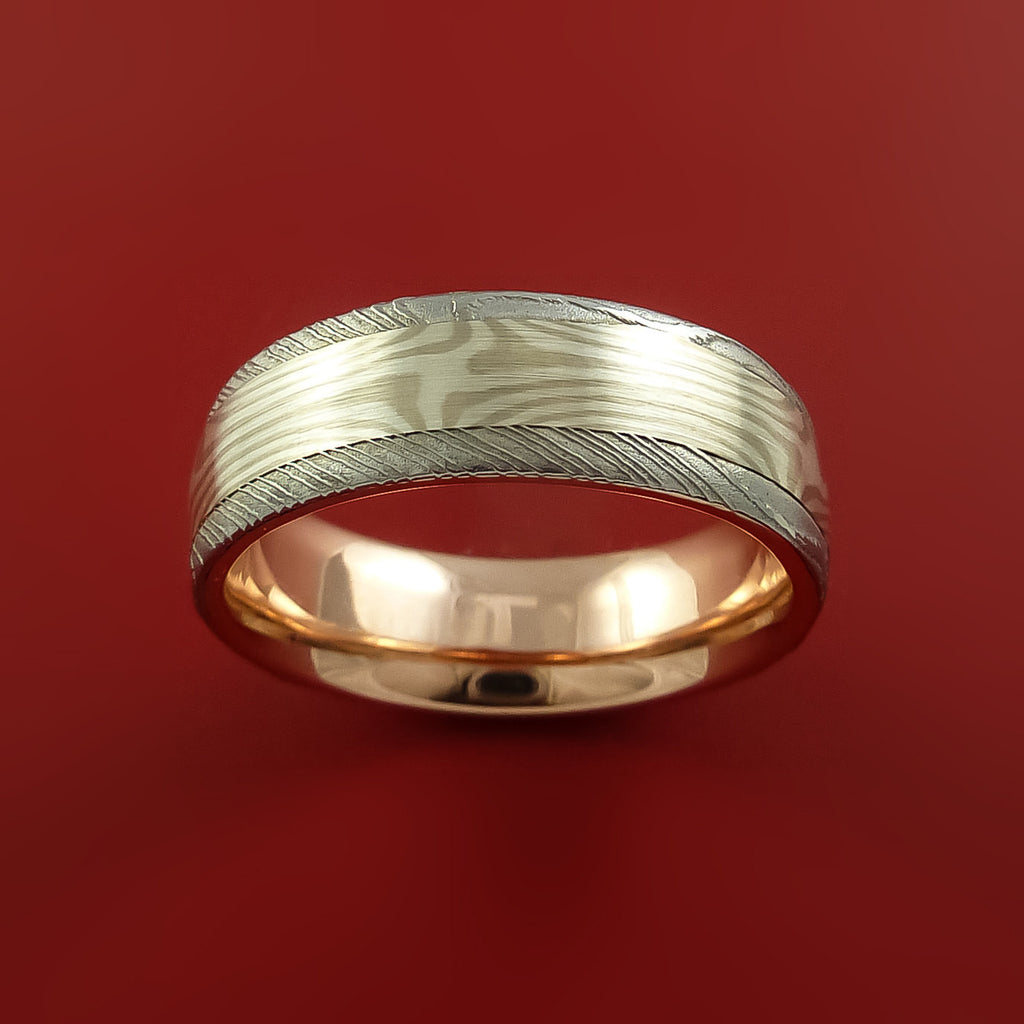Damascus Steel And Mokume Ring With Rose Gold Sleeve