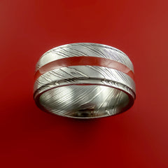 Damascus Steel Ring with Center Red Inlay Wedding Band Genuine Craftsmanship - Stonebrook Jewelry  - 4