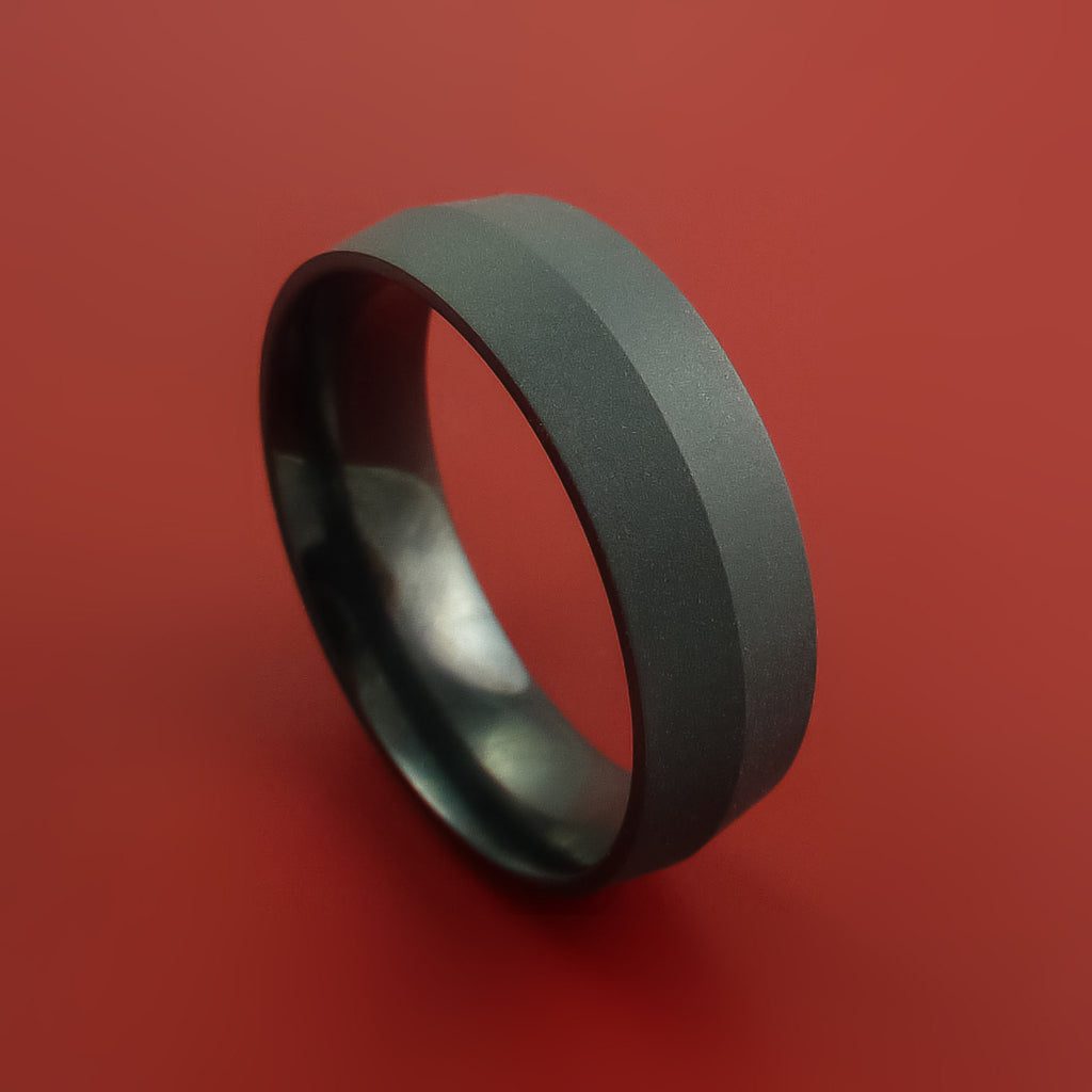 Black Zirconium Ring Modern Style Band Made to Any Sizing and Finish by Stonebrook Jewelry